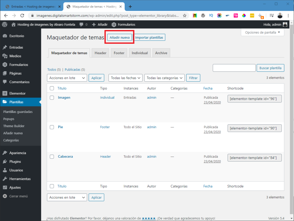 hosting de imagenes con wordpress