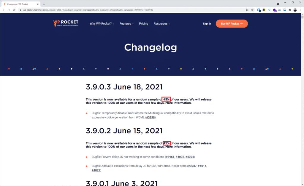 changelog wprocket